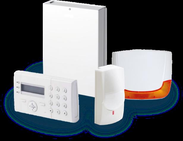 Pack de détection d'intrusion : centrale d'alarme, clavier, détecteur de mouvement et sirène